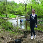 On Friday, April 20th, sixth grade students from the Montgomery School helped to plant over 200 trees along the new Pickering Creek Trail in West Pikeland.